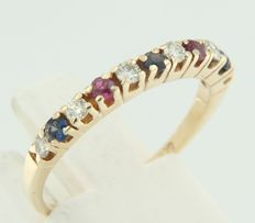 14 kt yellow gold channel ring with brilliant cut ruby, sapphire and diamond, ring size: 17.75 (56)