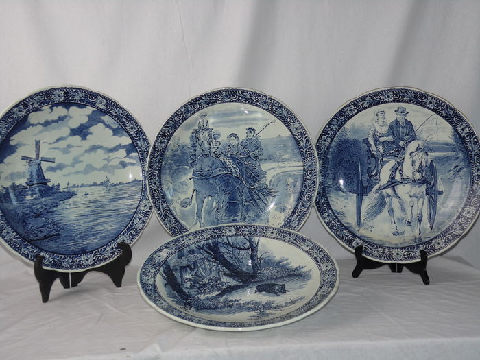 Four large Delft dishes Boch Belgium - ca. 1960