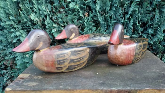 Three wooden duck decoy, second half 20th century