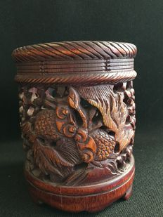 Bamboo carved brush pot - China - mid 20th century