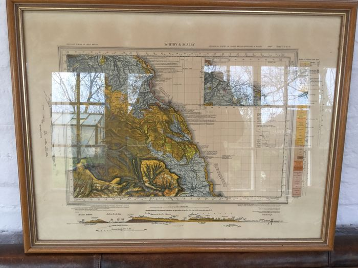 Framed Geological Map of Whitby and Scalby, Ordnance Survey of Great Britain 1968 (5th impression) Sheet 35 and 44
