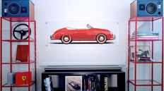 Painting on plexiglass - Porsche 256 Speedster PRE A 1955