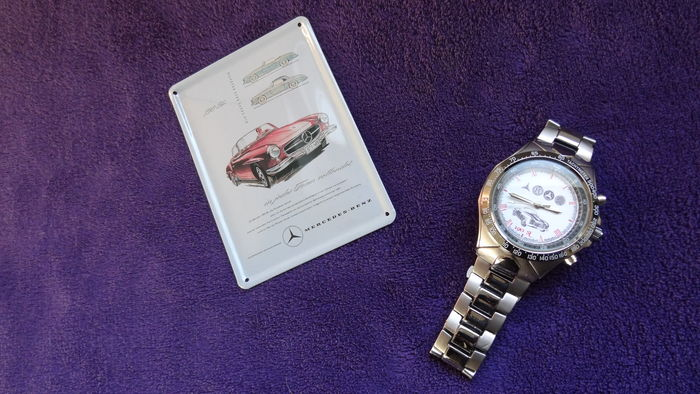 Mercedes promotional watch with Mercedes 190 SL picture and Mercedes logos
