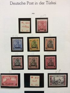 German Post in Turkey 1900/1905 - Selection of Michel stamps 13/22 and 37, 39, 40, 43.