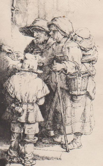 Rembrandt Harmensz. van Rijn (1609 - 1669) - A blind hurdy-gurdy player and his family receiving rlms - Famille de mendiants recevant l'aumône - Probably an impression of the end of the 18th century.