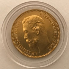 Russia – 5 Roubles 1904  – gold