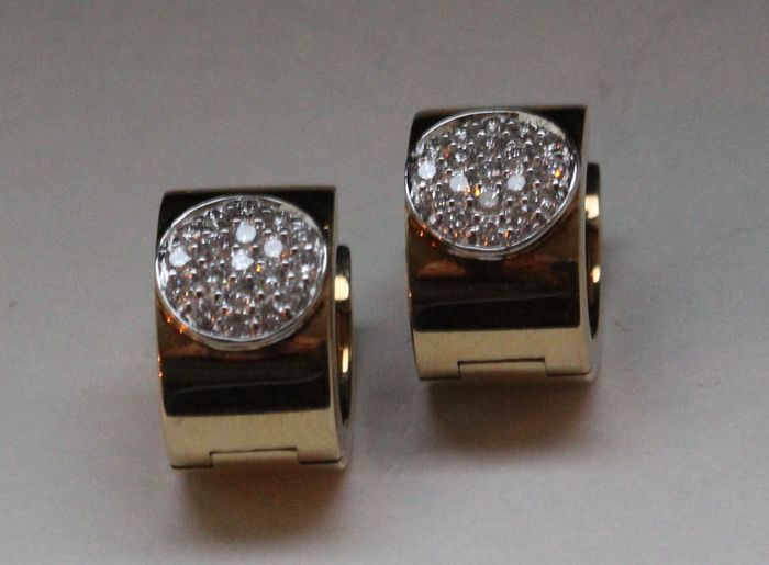 14 kt gold hinged creole earrings with diamond, Dutch 'Le Chic' brand