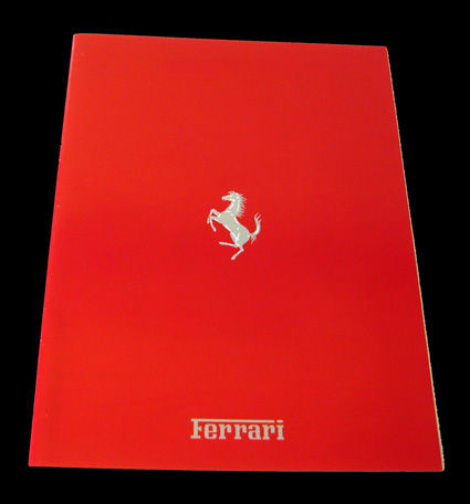 1989 Ferrari brochure, brilliant red, 22 x 29 cm, 16 pages. English text & data of 6 models: 348 TB, 348 TS, Mondial t, Mondial t, cabriolet, Testarossa, F40