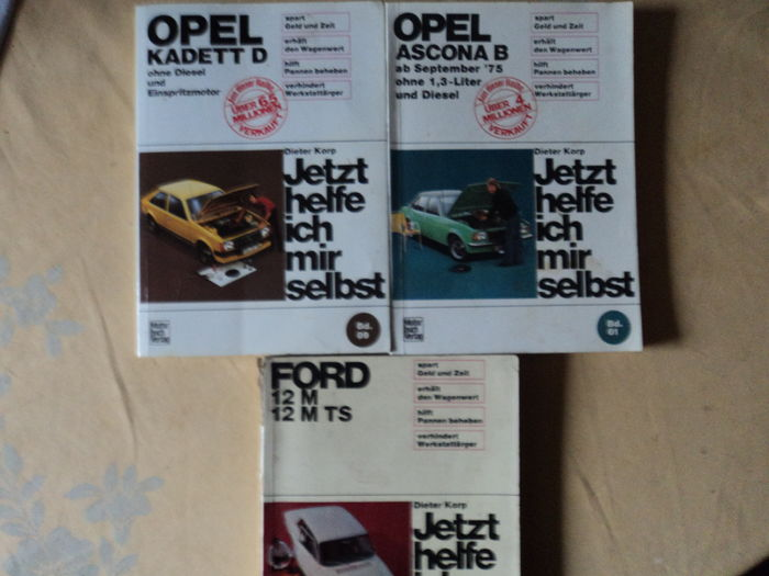 "Three books about Opel and Ford ""Jetzt helfe ich mir selbst"" - all by Dieter Korp"
