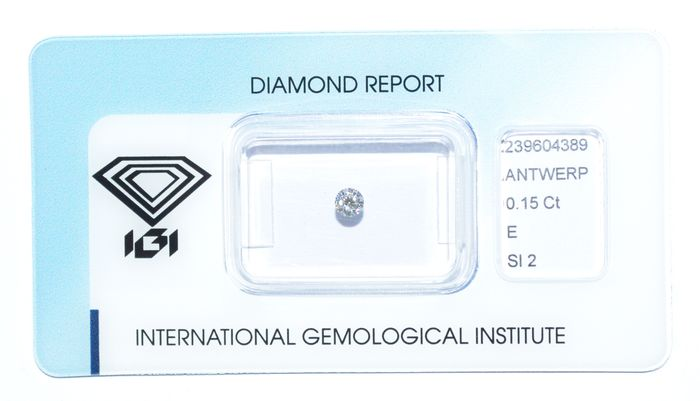 Diamante a taglio brillante da 0,15 ct, E, SI2
