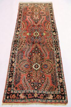 Perser carpet Sarouk Lilian around 1930  rug, natural colours 90X230cm Made in Iran