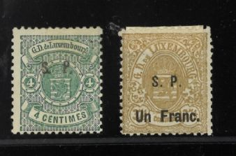 Lussemburgo 1875/1882 - francobolli originali 4 centesimi e 1 franco - Michel 23l and 26l