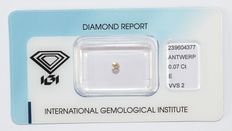 0.07 ct brilliant-cut diamond, E, VVS2