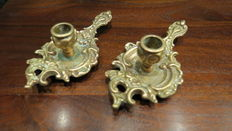 Leaf shaped bronze candleholders, Spain, 20th century