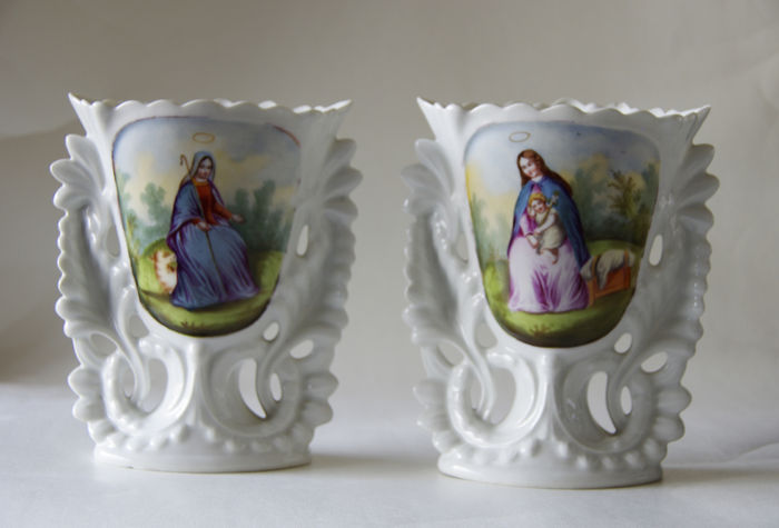 2 Vases With Religious Images Catawiki