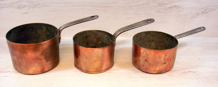 Set of three, antique, tinned copper pans, ca. 1880