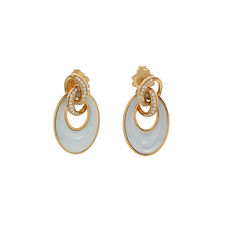 "Chimento – ""Liason"" ear studs, rose with mother of pearl and diamond"