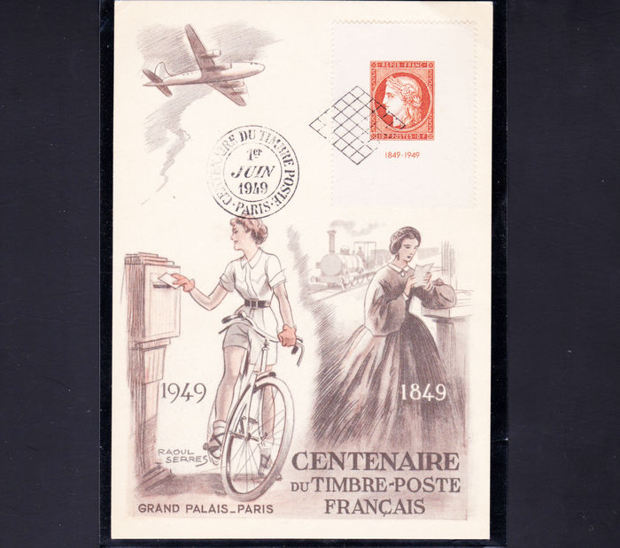 France 1949 - Centenary of Stamp 1949, Louvre Museum, Commemoration with a set of 42 letters, cards. Pneumatic, telegraph