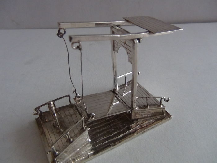 Miniature silver-silver miniature-drawbridge -Dutch