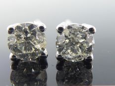 White gold solitaire ear studs set with 2 brilliant cut diamonds, 0.8 ct total – *** NO RESERVE ***