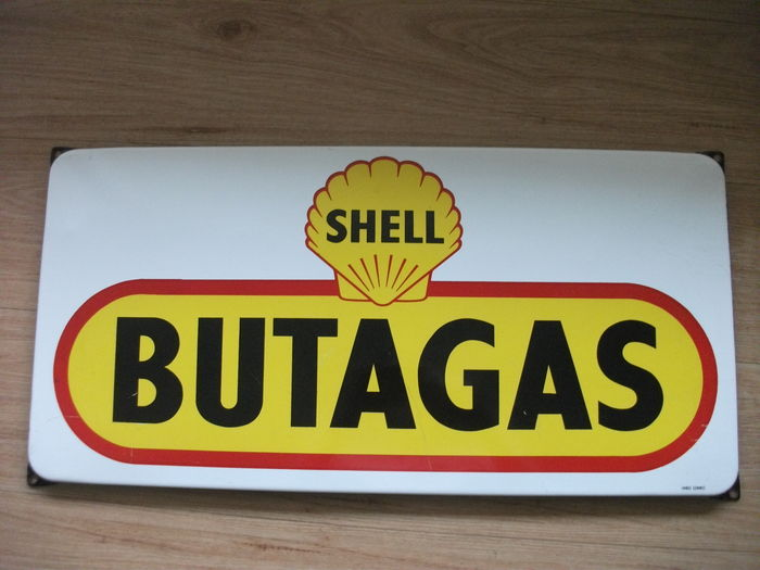 Enamel advertising sign SHELL BUTAGAS