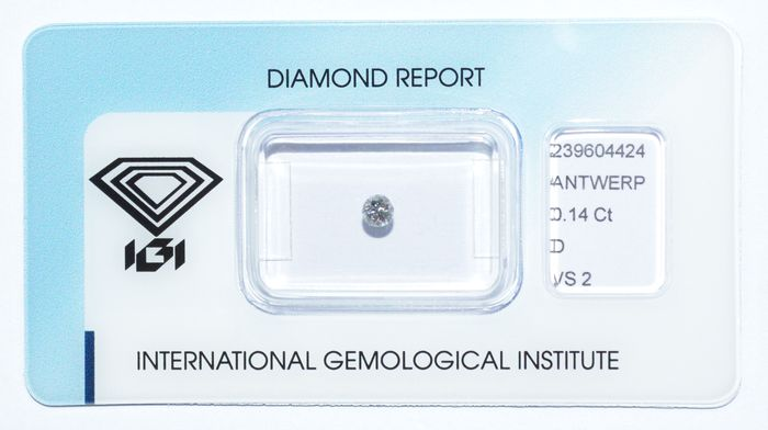 0.14 ct briljant geslepen diamant, D, VS2