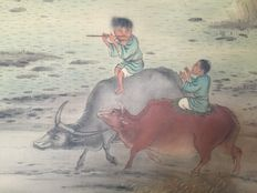 Scroll painting of two boys riding bulls -Japan -19th century