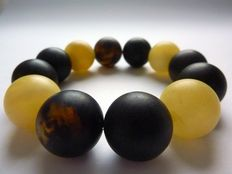 Baltic amber bracelet, milk-honey and cherry colour, brushed beads, No reserve price