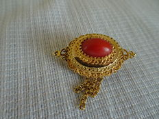 Gold brooch, regional costume, with large precious coral and gold fringe –late 19th century