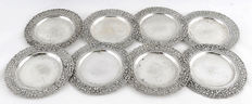 Set of 8 saucers, .915 silver, Arcadio Pallé, early 20th century