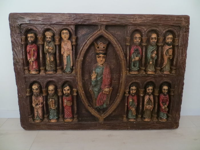 Large wood carved religious object with Jesus and the 12 apostles - Eastern Europe - the late 19th century