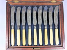12 Silver Plated Victorian Fish Knives; Engraved Fish decoration EPNS