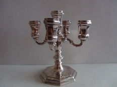 Silver five light candle stick, 20th century