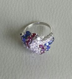 Wonderful cocktail ring: Diamonds (1.50 ct), rubies, and sapphires.