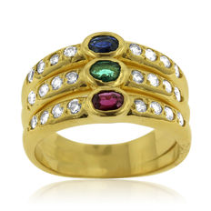 18kt Yellow Gold Ruby, Emerald, Sapphire and Diamond Ring, As New!