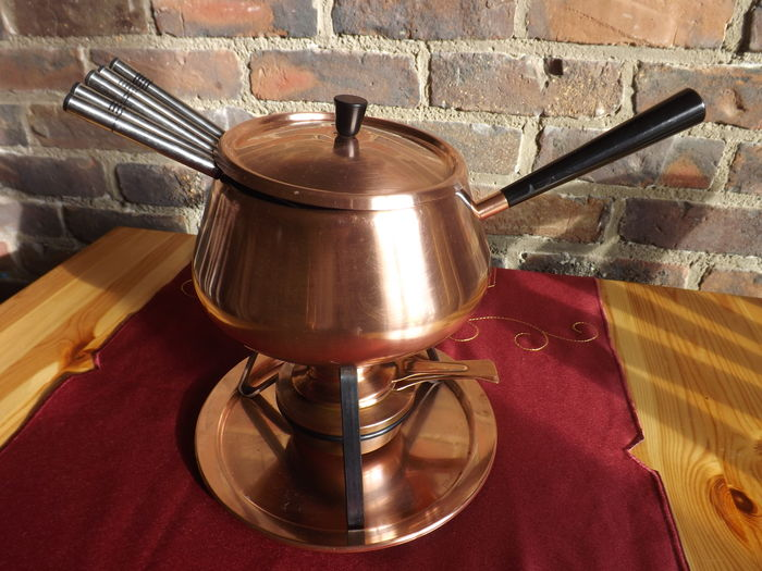 Vintage Copper Fondue Set Spring Culinox Koper and Inox