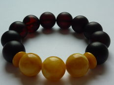 Baltic amber bracelet, honey colour and brushed cherry, No reserve price
