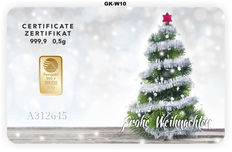 """2 pieces Nadir PIM gold bars - 0.5 g of fine gold each - purity 999.9/1000 24-carat gold - gift card motif """"Frohe Weihnachten"""" (Merry Christmas) - gold bar - 1 g gold bars in credit card format, in a blister - LBMA-certified"""