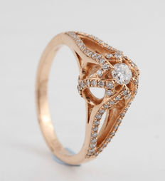 14kt diamond ring total 0.47ct ring size 54.G-H/SI1-SI2.