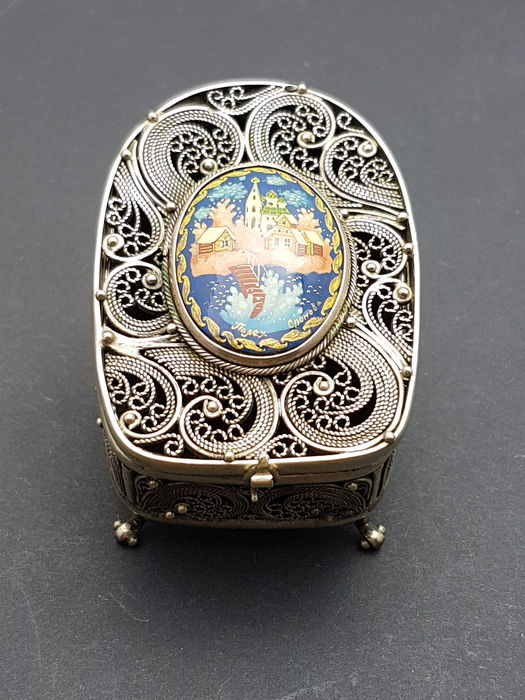 Silver filigree nail polish box, 2nd half 20th century