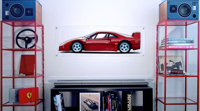 Painting on plexiglass - Ferrari F40