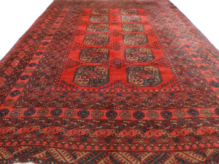 Afghan - 305 x 215 cm - authentic eye-catcher in red, in mint condition