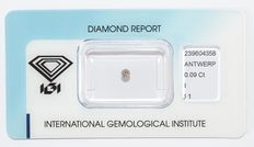 0.09 ct brilliant-cut diamond, I, I1