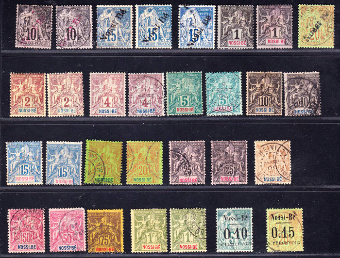 Nossi-Be French ex-colonies 1891/1902 - Collection of 49 stamps