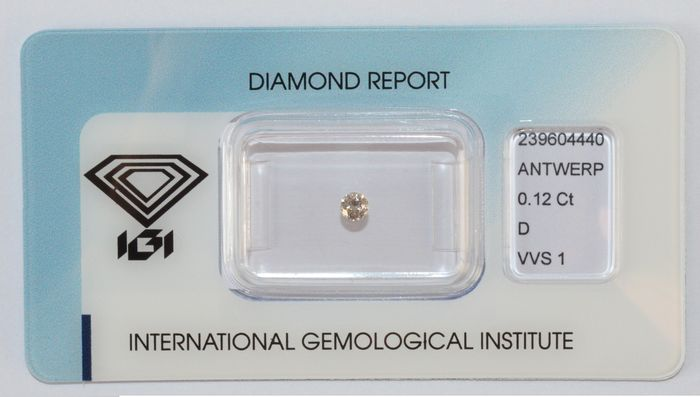 0.12 ct brilliant cut diamond, D, VVS1