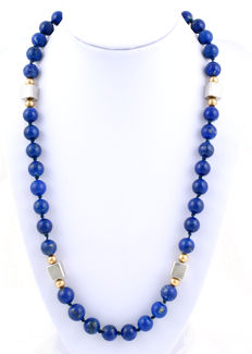 Lapis lazuli necklace with gold and silver