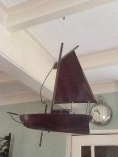 Copper sailing boat that can be hung, stand or used as a wind vane for on the roof