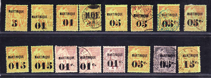Martinique French Ex-Colonies 1896/1891 - Collection of 16 stamps between Yvert no. 1 and 10