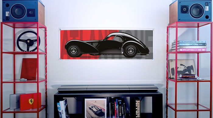 Painting on plexiglass - Bugatti Atlantique