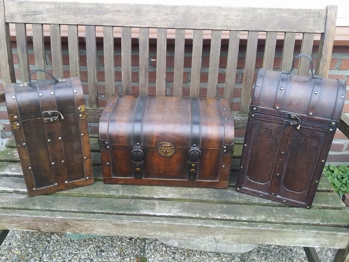 Lot Of Three Two Large Wooden Wine Boxes And A Large